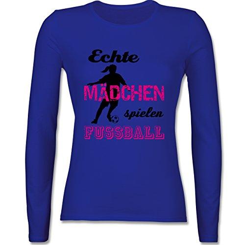 Fußball - Echte Mädchen spielen Fußball - Schwarz - tailliertes Longsleeve / langärmeliges T-Shirt für Damen Royalblau