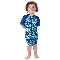 Juicy Bumbles Bañador Bebe Niño - Traje de Baño con Protección Solar Anti UV de Una Pieza para Bebés y Niños Pequeños - Traje de Mangas Cortas UPF50 + - de 6 Meses a 3 años
