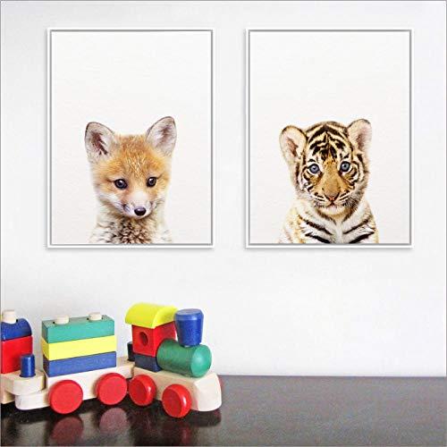 xwwnzdq 2 Stück Wald Dschungel Tier Baby Tiger Fox Bild Drucke Kunstdruck Poster Kindergarten Wandkunst Dekor Leinwand Malerei Kinderzimmer - Fox-bild Baby