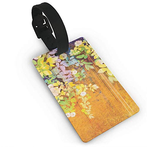 Soft Colored Spring Flowers and Leaves On Misty Retro Background Nature Art Luggage Tags Misty Leaf