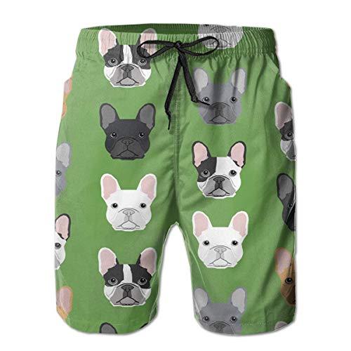 ZKHTO Mens Green Frenchie Dog 3D Swim Trunks Quick Dry Summer Underwear Surf Beach Shorts Elastic Waist with Pocket Drawstring(XXL) -