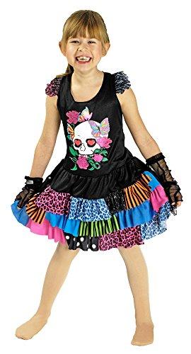 Lovely Punk Kostüm für Kinder Gr. 140 152 - Auffälliges Minikleid mit Stulpen für Halloween, Day of the Dead, Fasching und (Mädchen Halloween Kostüm Für Rock Punk)