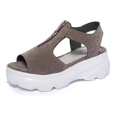 Zormey Damen Sandalen Komfort Im Sommer Pu Casual Plattform Reißverschluss Grau Schwarz US6.5-7 / EU37 / UK4.5-5 / CN37
