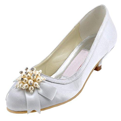 en Modische Hochzeitsschuhe , Beige - Elfenbein - Größe: 43 1/3 (Girls Elfenbein Satin Schuhe)