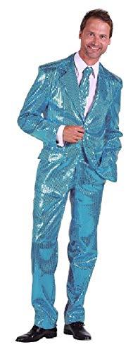 s Herren Pailletten Anzug Jackett Sakko Hose Disco Kostüm Gr.46 ()