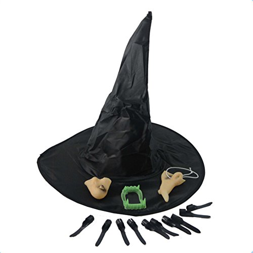 coxiang New Halloween Make Up Requisiten speziellen Festival bietet Cosplay Hexe Hat Faux Prothese Nail Tipps Nase Kinn Set Rollenspiele Kleidung Requisiten ()