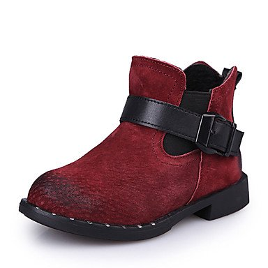 kekafu Girl&'s Stiefel Herbst Winter Komfort Snow Boots PU-Dress Casual Flachbild Heel Hook & Loop Schwarz Rot Wandern, Rot, US 12,5 / EU 30/ UK 11,5 Kleine Kinder