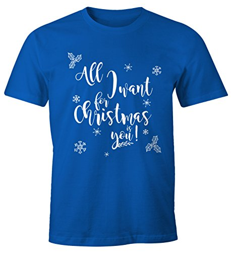 Herren T-Shirt für Weihnachten All I want for Christmas is you Moonworks® all I want blau