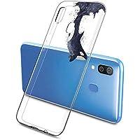 Suhctup Case Compatible con Samsung Galaxy M30S Funda Transparente Suave Silicona TPU Bumper Cárcasa Dibujos Animales Diseño Ultra Delgada Antigolpes de Protector Piel Cover,Tiburón Negro