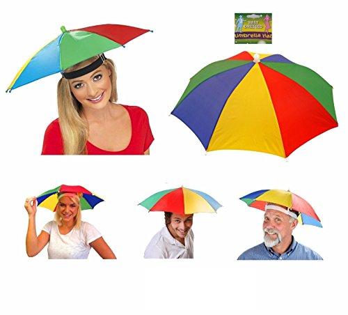Regen-/Sonnenschirmhut von Lizzy® für Erwachsene, mehrfarbiges Kostüm-Accessoire für Damen und Herren, ideal für Festivals (Regenschirm Mantel, Hut)