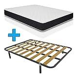 Duermete Cama Completa con Colchón Viscoelástico Pocket Visco Reversible + Somier Basic + 4 Patas, Conjunto,...