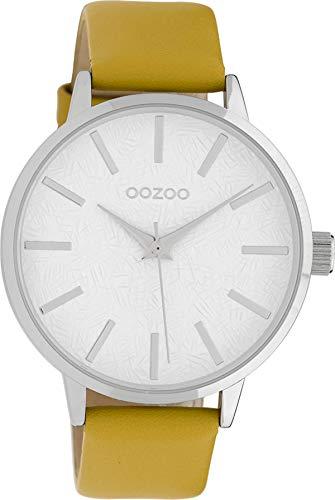 Oozoo Damenuhr mit Lederband 42 MM Weiss/Senfgelb C9750