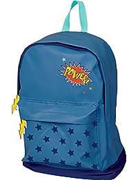 Mochila Infantil Totalmente Reflectante Azul Power con Bordados y Colores Contrastes Estrellas Impresas