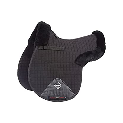LeMieux Lambskin GP/Jumping Half Lined Numnah - Black Wool/Black Fabric, Medium 1