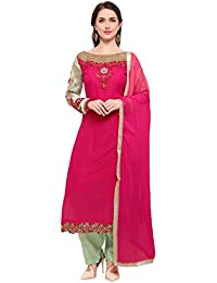 Kanchnar Georgette Pink Semi Stitched Thread, Zari and Stone Embroidery Dress Material
