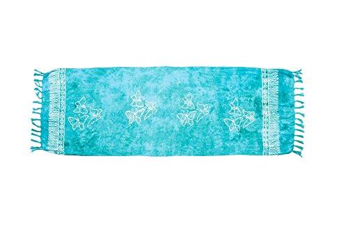 ManuMar Donna sarong | Pareo telo mare | leggero per telo fasciatoio con frange nappe Türkis Schmetterling s