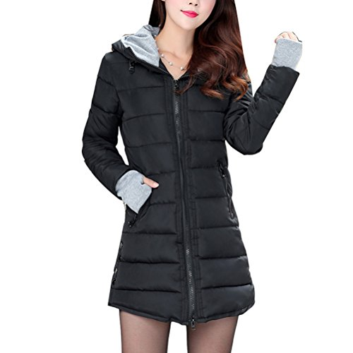 Zhhlaixing Mode Mantel Women Long Style Down Jacket Cotton Hooded Zipper Lightweight Coat with Gloves Multicolor