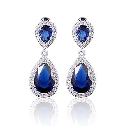 GULICX Royal Teardrop Cubic Zirconia CZ Blue Sapphire Color Dangle Earrings Drops White Gold Plated