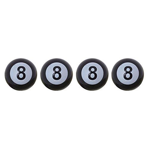 4 Stück 8 Billard Kugel Ball Ventilkappen für Autos PKW LKW Motorrad - 1A (Harley-ball-kappe)