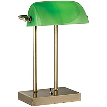 Antique Brass Bankers Desk Lamp with Traditional Green Glass ...