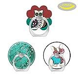 Pop Handy Finger Ring-Halterung Ständer Sockel mit Drei Auto Mount-Gorgeous Bohemian Hippie-Owl-floral auf Teal-French Bulldogge mit Brille