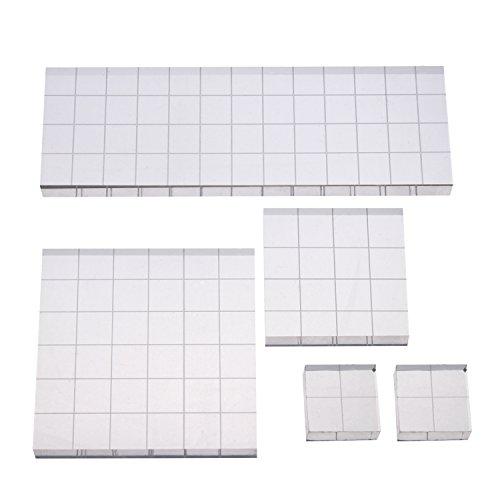 Stempel Block Acryl Block mit Gitterlinien, Sortierte Größen, 5 Stück -