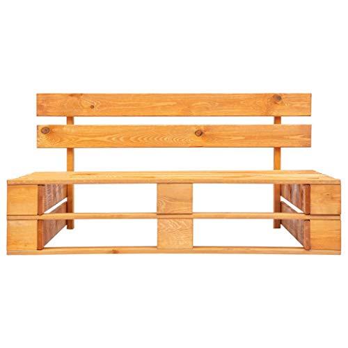 vidaXL Garden Pallet Bench Outdoor Patio Terrace Lawn Bistro Sofas Chairs Wooden Furniture Seating FSC Solid Wood Honey Brown