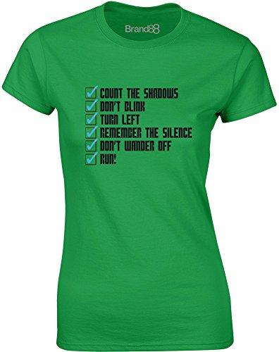 Brand88 - Whovian Checklist, Gedruckt Frauen T-Shirt Grün/Schwarz