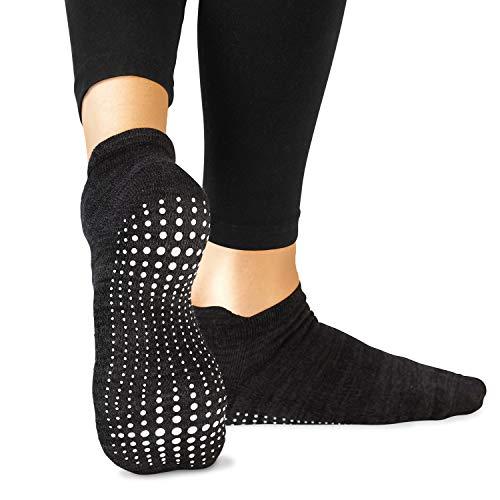 LA Active Grip Socken - Yoga Pilates Barre Ballet Abs Noppen Rutschfeste (Schwarz, 44.5-47.5 EU)