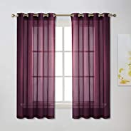NICETOWN White Voile Sheer Curtains, Light Weight Privacy Sheer Voile Rod Pocket Window Curtains for Living Room, 2 Pieces