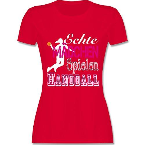 Handball - Echte Mädchen Spielen Handball weiß - XXL - Rot - L191 - Damen T-Shirt Rundhals