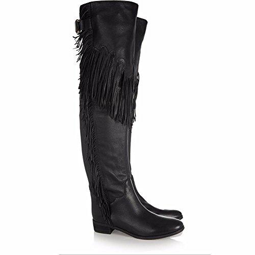 Elegant high shoes Frauen Schuhe Wildleder Winter Herbst Komfort Mode Stiefel Flache Ferse Spitz Kniehohe Stiefel Quaste für Hochzeit &, Black, 46 (Ferse Damen-komfort-schuhe)