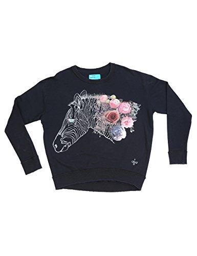 Dear Tee Sudadera Mujer Zebra, Sweatshit à Capuche Sportswear Femme Noir