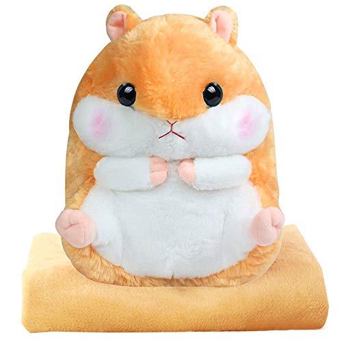 Alpacasso 3 IN 1 Cute Gelb Plüsch Hamster Dekokissen und Folding Klimaanlage Car Blanket Kissen Set