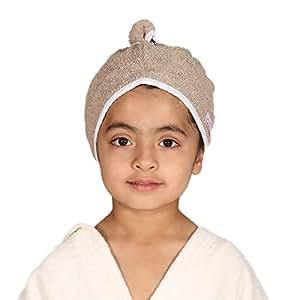 Mumma's Touch Organic Cotton Kids Hair Wrap Towel(Beige)(3-5 Years)(20X50 cm)