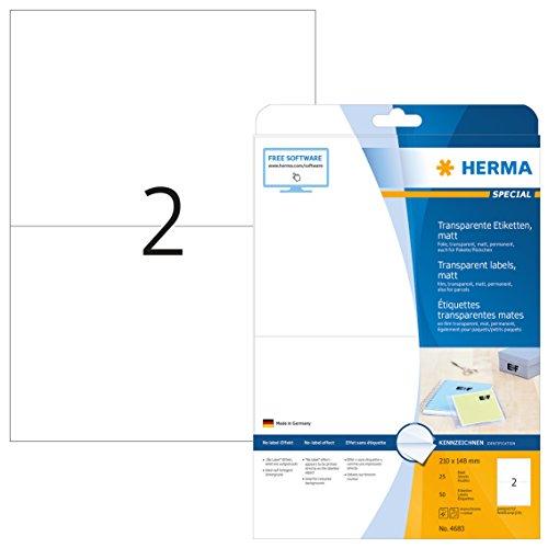 Herma 4683 Wetterfeste Folien-Etiketten transparent matt (Format DIN A5 210 x 148 mm) 50 Aufkleber, 25 Blatt A4 Klebefolie, bedruckbar, selbstklebend