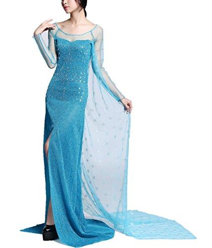 Beunique® Damen Elegante Prinzessin Kleid mit warmer Stola Pailletten-Kleid Karneval Party Kostüm Cosplay Kleider