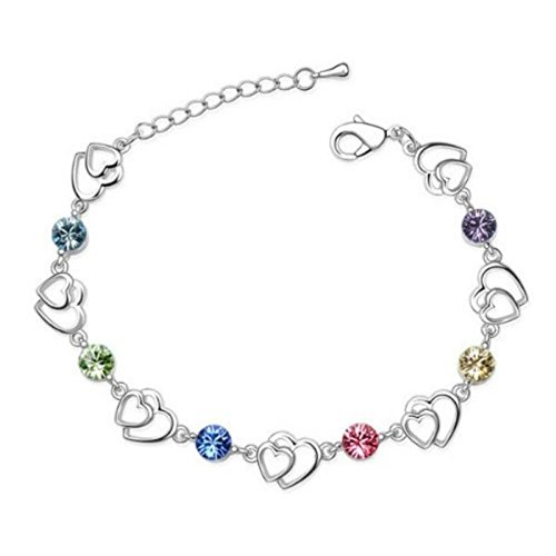 Bracelet double coeurs cristaux swarovski elements plaqué or blanc Multicolore