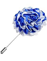 & pour homme Bleu Satin blanc bal Corsage Lapel Pin Boutonniere Effet satiné