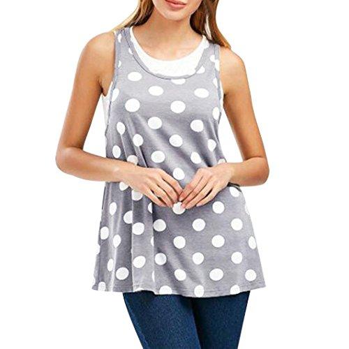 Tops Damen Xinantime Tank Mutterschaft Stillen Schwanger Dot Hemd Weste T Shirts Bluse Frauen Grau M-XXL (L, Grau)