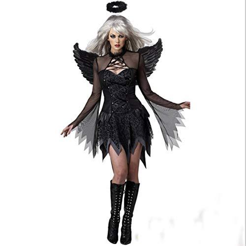 Zombies Von Kostüm - GUAN Schwarz Sexy Halloween Dark Angel Kostüm Ansprechende Uniform Spiel Zombie Kostüm Weibliche Ghost Bride Devil Wear