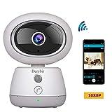 Cámara de Vigilancia WiFi Derebir 1080P Cámara IP Inalámbrica, Pan/Tilt/Zoom,HD Visión Nocturna, Alarma de Correo Electrónico, Audio Bidireccional, para Bebé/Anciano/Mascota/Oficina (Blanco)