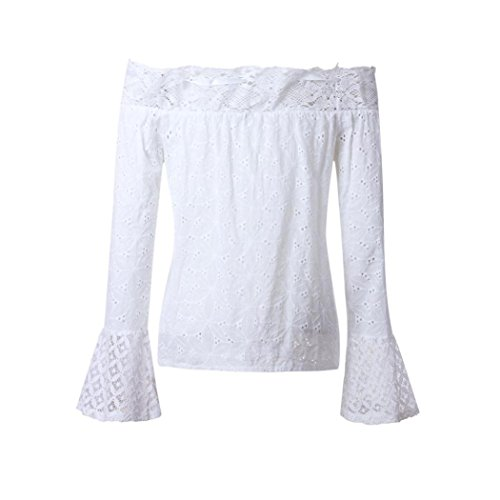 Traumzimmer Frauen aus Schulter Langarm Lace Lose Bluse Tops T-Shirt (S) (Dockers-golf-shorts)