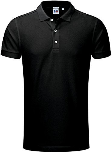 Russell Herren Stretch Baumwolle Polo Shirt/Top Short Sleeve Shirt Tees Slim Fit Schwarz - Schwarz