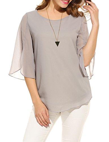 ACEVOG Damen Bluse 3/4 Ärmel Beiläufiger Chiffon Loose Fit Shirt Tops mit Rundhals A Grau