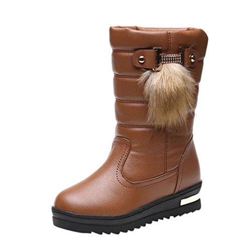 Stiefel damen Kolylong® Frauen Elegant Stiefel PU Leder Herbst Winter Warme Schneestiefel Mädchen (36, Braun) (Stiefel Leder Frauen)