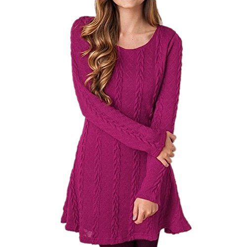 Scothen A-ligne de robes femmes robe en maille à manches longues Pull Tops moderne Jersey Fashion Casual Mini Robe Longshirt hoodies jumper sweatshirt blouse Rosen-Rot