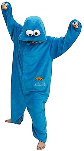 SMITHROAD Jumpsuit Tier Karton Fasching Halloween Kostüm Sleepsuit Cosplay Fleece-Overall Pyjama Schlafanzug Erwachsene Unisex Nachtwäsche,blau Gr.L