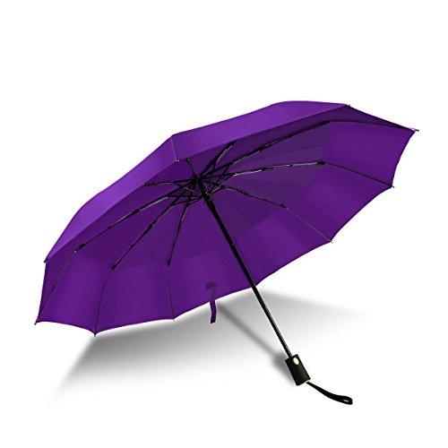 Paraguas Plegables Resistente al Viento Antiviento Paraguas Compacto Apertura y Cierre Automaticos Impermeable para Hombres / Mujeres-Púrpur