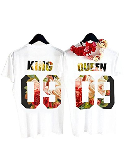 *Partner Look Pärchen T-Shirt Set King Queen T-Shirts Hochzeitstagsgeschenk Geburtstagsgeschenk Jahrestagsgeschenk*